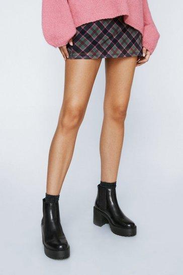 Black Aim High Platform Chelsea Boots