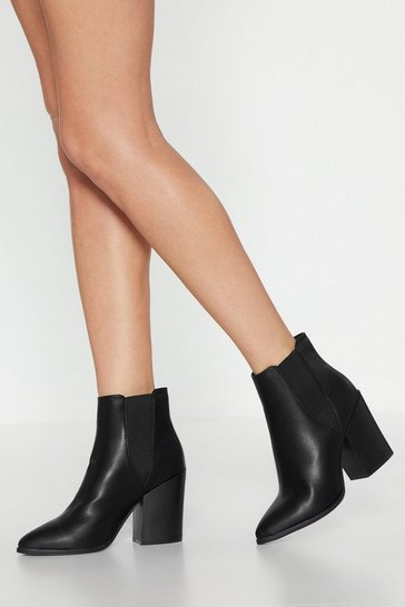 Black Faux Leather Pointed Toe Chelsea Boots