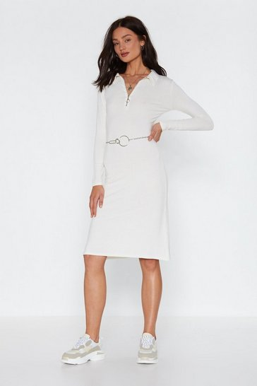 Ecru Heart Zips a Beat Midi Dress