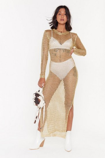 Womens Gold Net My Problem Metallic Fishnet Dress