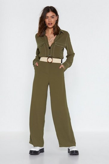 Womens Khaki An Absolute Stitch Wide-Leg Jumpsuit