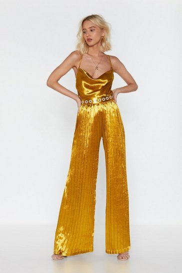 Womens Gold Ruche Satin Wide-Leg Pants