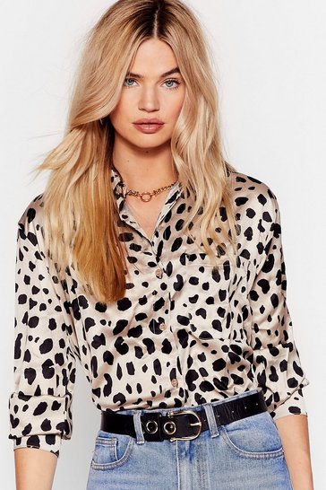 Womens Stone Don't Spot Oversized Dalmatian Shirt