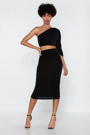Womens Black Team Up One Shoulder Crop Top and Skirt Set
