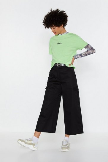 Womens Black Time to Cargo Wide-leg Culottes