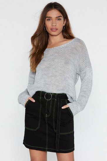 Womens Grey It's Knit Over Relaxed Sweater