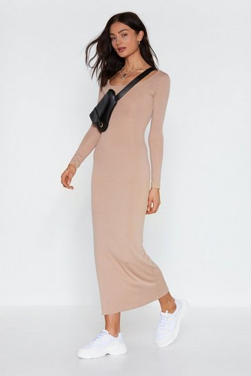 Womens Stone Love You Long Time Ribbed Maxi Dress