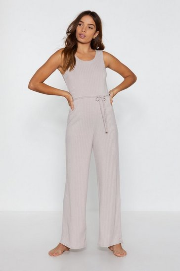 Womens Stone That Tie of Day Ribbed Wide-Leg Lounge Jumpsuit
