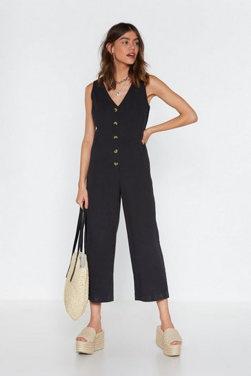 Womens Black All of a Button Wide-Leg Jumpsuit