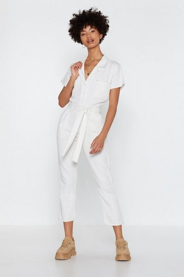 Womens White You Thread It Denim Boilersuit