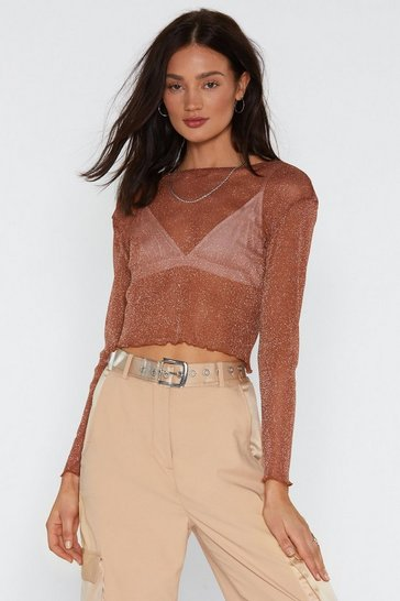 Womens Burnt orange Mesh Off With Mesh Glitter Crop Top