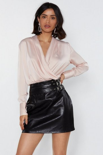 Womens Blush Drape Two Plunging Satin Blouse
