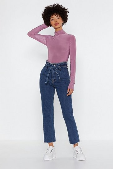 Womens Blue Paperbag and Go Mom Jeans