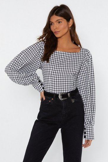 White Taking Square of Business Gingham Blouse