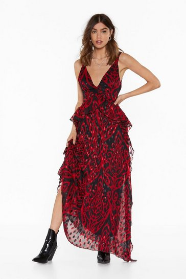 Red Grand Entrance Jacquard Maxi Dress