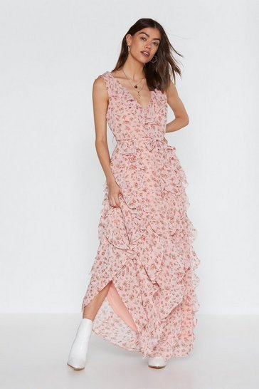Womens Pink Grow the Distance Floral Ruffle Dress