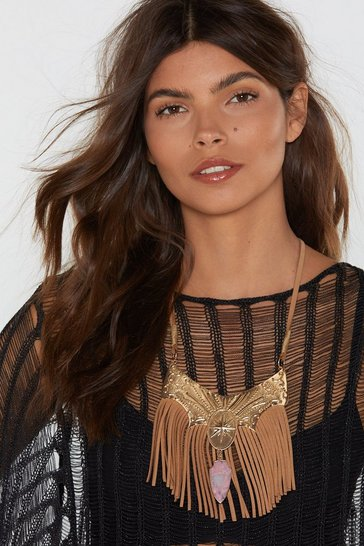 Womens Gold Luck Out Fringe Amulet Necklace