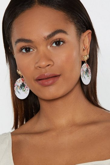 Womens White Pretty as a Picture Floral Drop Earrings