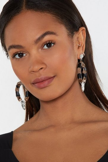 Womens Brown Going Round Town Snake Hoop Earrings