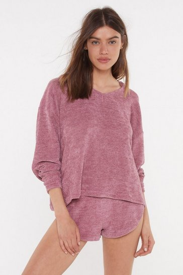 Womens Mink Chenille Me Out Lounge Hoodie