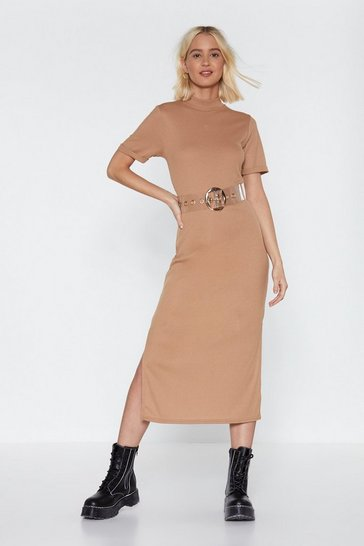 Womens Tan Here's the Tee Maxi Dress