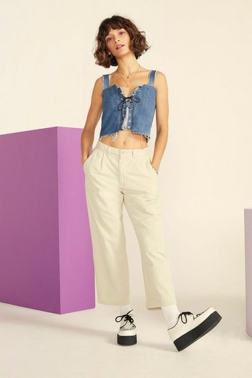 Ecru Nasty Gal Vintage Straight Off Twill Pants