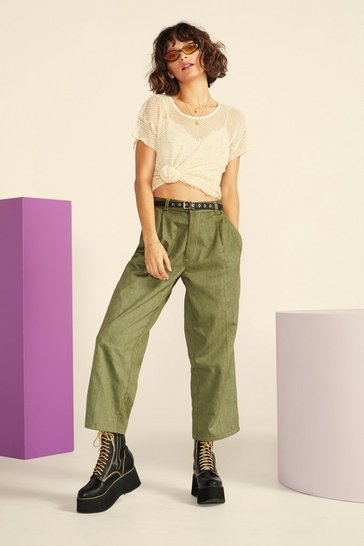 Khaki Nasty Gal Vintage Straight Off Twill Trousers