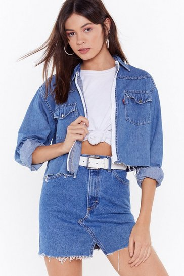 Womens Blue Nasty Gal Vintage Clean Break Denim Shirt