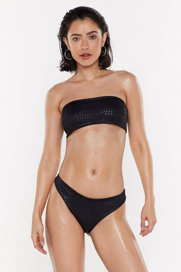 Black Be the Girl Em-boss Bandeau Bikini Set