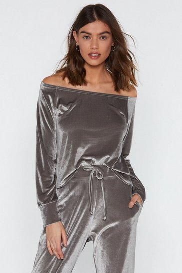 Womens Grey Gimme Gimme Velour Lounge Top