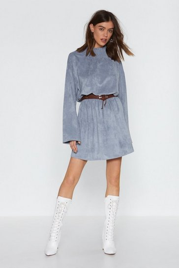 Womens Grey Keep a Secret Faux Suede Mini Dress