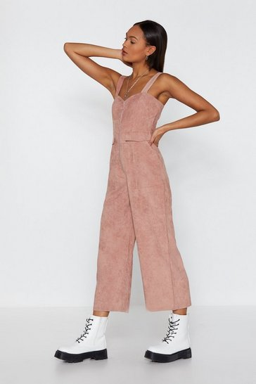 Womens Rose Who Do You Pink You're Kidding Corduroy Jumpsuit