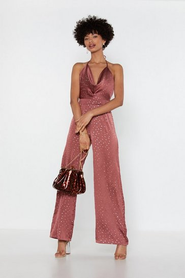 Womens Blush Into the Groove Spotty Satin Jumpsuit