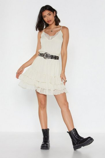 Womens Cream Tiers of Joy Ruffle Mini Dress