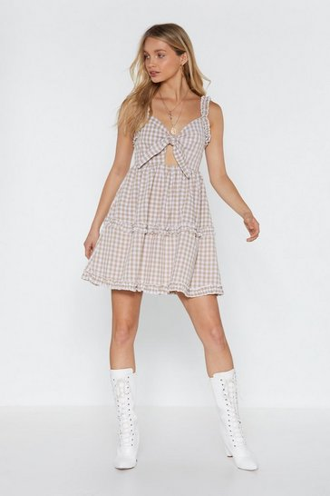 Womens Nude Swing By Gingham Mini Dress