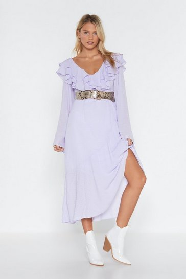 Womens Lilac When the Going Gets Tough Ruffle Midi Dress