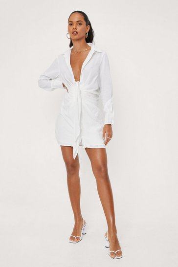 White Low V-Neck Tie Front Shirt Dress