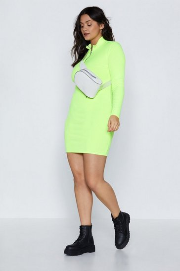 Womens Lime Zip Down Rib Mini Dress