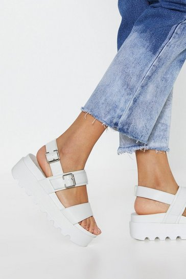 White Work Your Way Up Faux Leather Platform Sandals