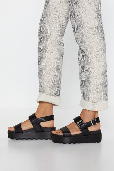 Black Faux Leather Buckle Platform Sandals