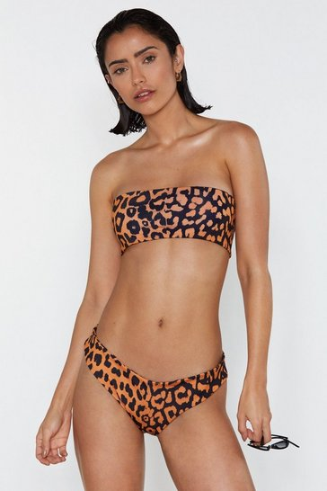 Orange Two Sides to You Leopard Bandeau Bikini Set