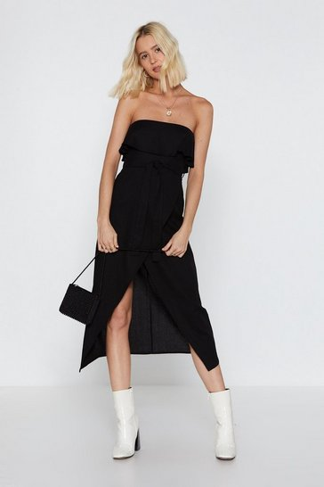 Womens Black Oh Give Off-the-Shoulder Ruffle Midi Dress