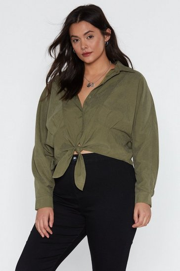 Womens Khaki Believe It or Knot Tie Relaxed Shirt