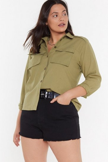 Womens Khaki Miss Utility Relaxed Plus Shirt