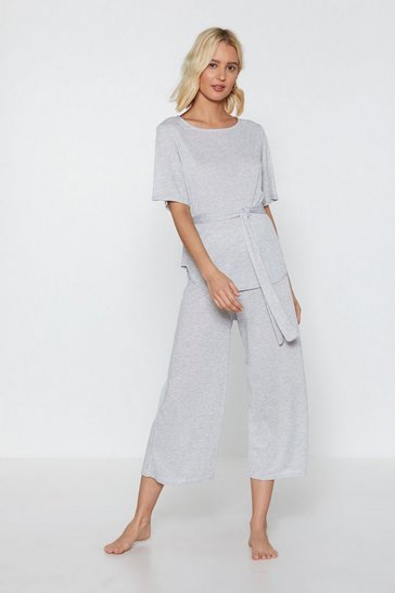 Womens Grey marl Time Waist-er Ribbed Top and Culottes Lounge Set