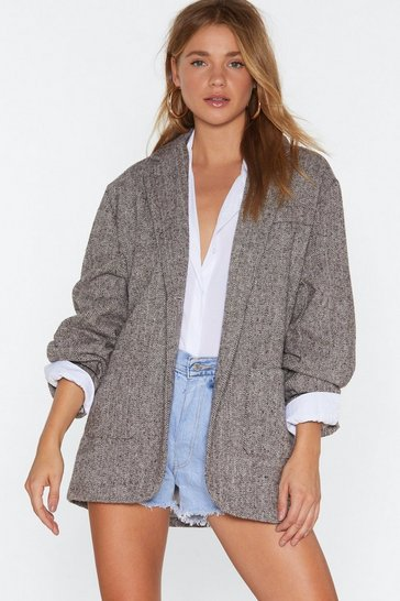 Brown Oversized Blazer with Button Detailing at Cuffs