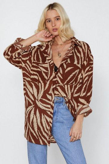 Tan Without Feather Ado Oversized Shirt