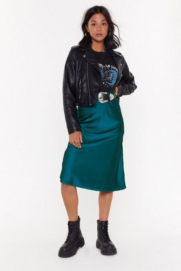 Teal Just My Type Satin Midi Skirt