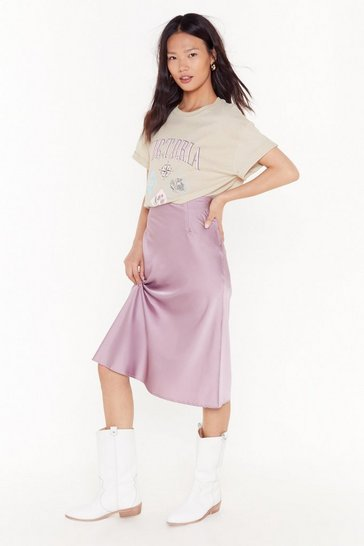 Mauve Slip Into It Satin Midi Skirt