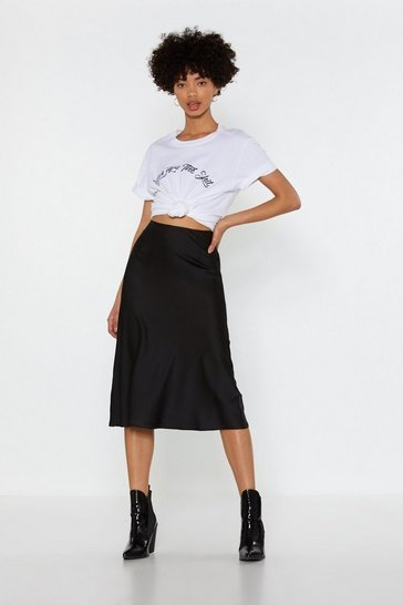 Womens Black Just My Type Satin Midi Skirt
